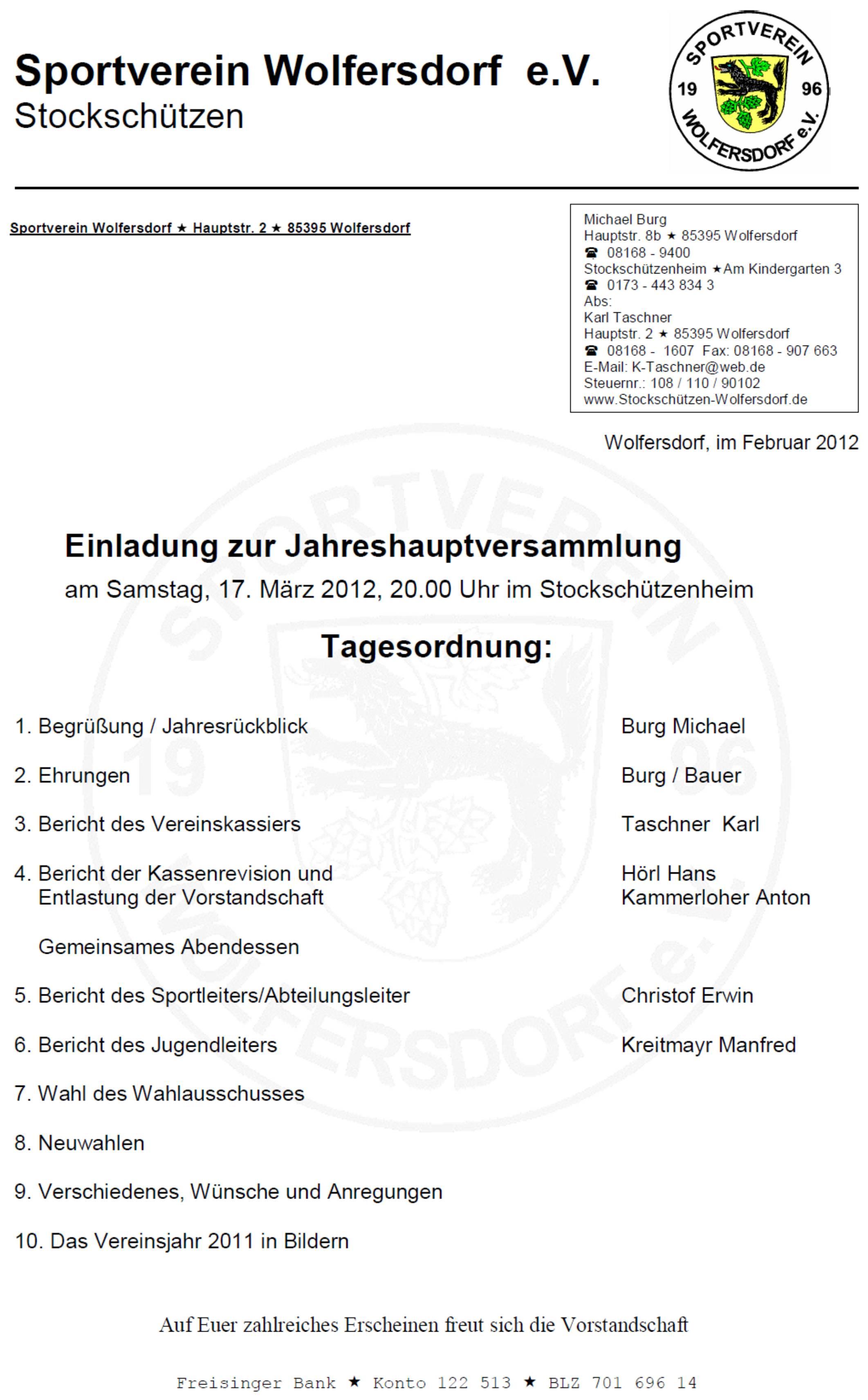 Gemütlich Jahreshauptversammlung Vorlage Ideen - Beispiel Business ...